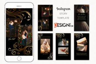 Print on Demand: Black Gold Floral Instagram Story Graphic Graphic Templates By DesignItfor