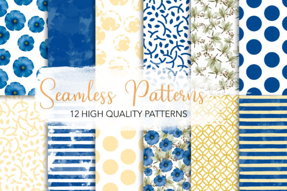 Print on Demand: Blue Florish Seamless Patterns Graphic Patterns By loyaarts
