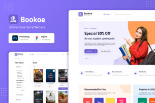Print on Demand: Bookoe - Book Store Website UI Design Graphic UX and UI Kits By peterdraw