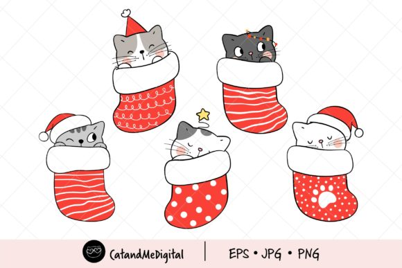 Christmas Cat in Red Sock Clipart Graphic Illustrations By CatAndMe