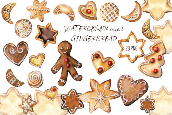 Print on Demand: Christmas Gingerbread Watercolor Clipart Graphic Illustrations By ElenaZlataArt
