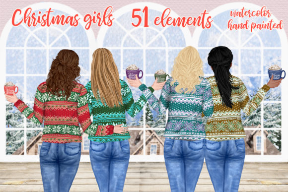 Christmas Girls Clipart Mug Design Girls Graphic Illustrations By LeCoqDesign