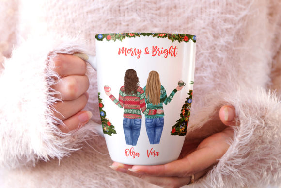 Christmas Girls Clipart Mug Design Girls Graphic Preview