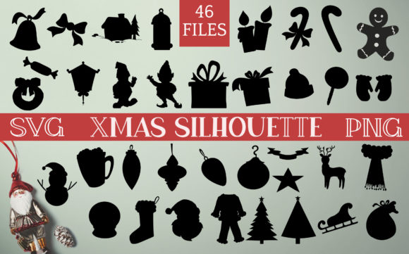 Print on Demand: Christmas Silhouette Clip Art Graphic Crafts By Digital Town