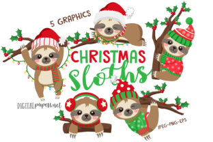 Print on Demand: Christmas Sloths Graphic Illustrations By DigitalPapers