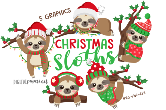 Print on Demand: Christmas Sloths Gráfico Ilustraciones Por DigitalPapers