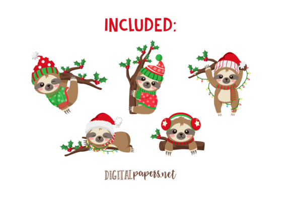 Christmas Sloths Graphic Download