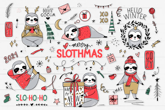 Christmas Sloths, Sloth Clipart Graphic Illustrations By yana26789