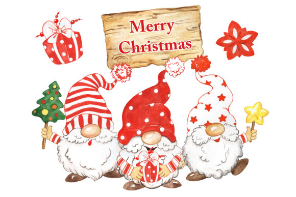 Christmas Gnomes  Clipart,  Funny Gnomes Graphic Illustrations By EvArtPrint