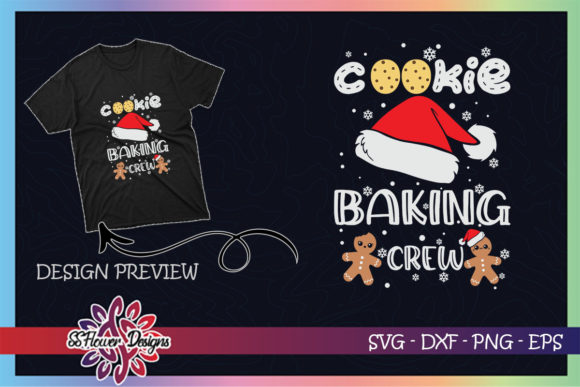 Cookie Baking Crew Santa Christmas Xmas Graphic Print Templates By ssflower