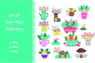 Cute Plants on a Pot, Spring Flower Graphic Illustrations By Big Barn Doodles