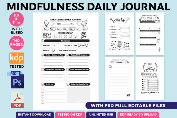 Print on Demand: KDP EDITABLE MINDFULNESS DAILY JOURNAL Grafik KPD Innenseiten von Queen Dreams Store