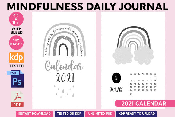 KDP EDITABLE MINDFULNESS DAILY JOURNAL Graphic Download