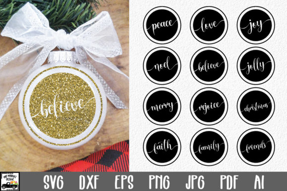 Print on Demand: Round Christmas Ornament Bundle Graphic Crafts By oldmarketdesigns