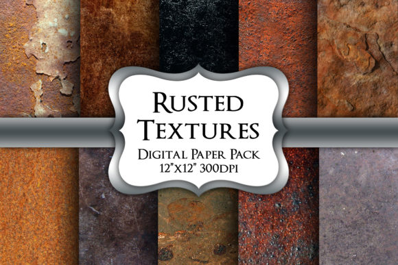 Print on Demand: Rusted Textures Digital Paper Pack Graphic Backgrounds By Party Pixelz
