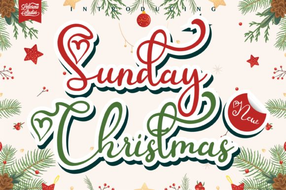 Print on Demand: Sunday Christmas Display Font By letterenastudios