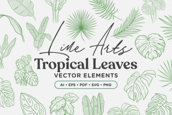 Print on Demand: Tropical Leaves Lineart Vector Elements Graphic Illustrations By Telllu