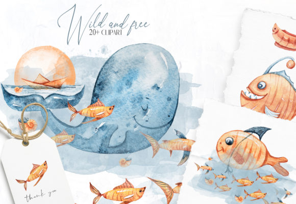 Print on Demand: Watercolor Nursery Whales, Fish Clipart Graphic Illustrations By Tiana Geo