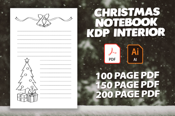 Print on Demand: Christmas Notebook Kdp Interior Graphic KDP Interiors By MK DESIGN