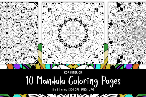 Print on Demand: 10 Unique Mandala Coloring Pages Graphic Coloring Pages & Books Adults By The Low Content Bookshelf