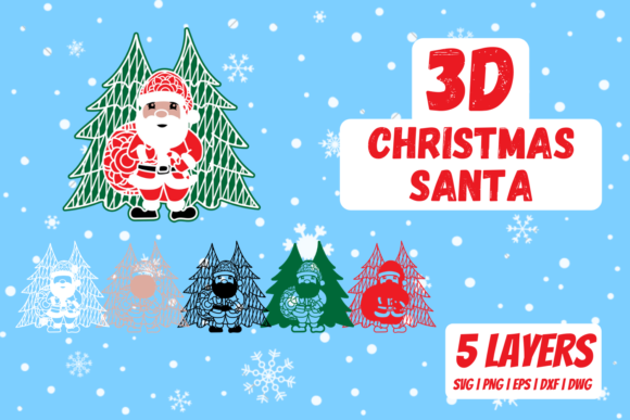 3D Christmas Santa Graphic Crafts By SvgOcean