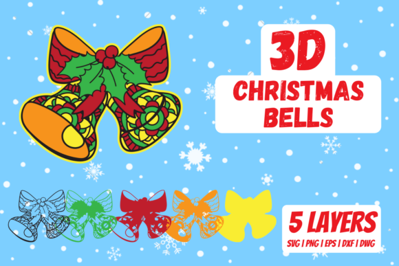 3D Christmas Bells Graphic Crafts By SvgOcean