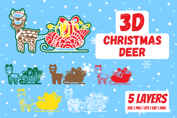 3D Christmas Deer Graphic Crafts By SvgOcean