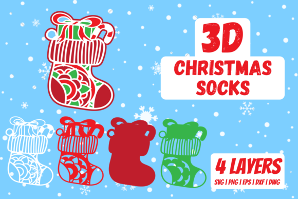 3D Christmas Socks Graphic Crafts By SvgOcean