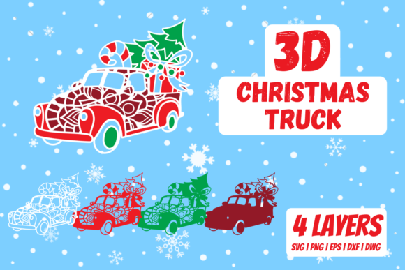 3D Christmas Truck Graphic Crafts By SvgOcean