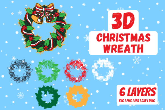 3D Christmas Wreath Graphic Crafts By SvgOcean