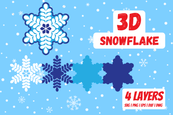 3D Snowflake Graphic Crafts By SvgOcean
