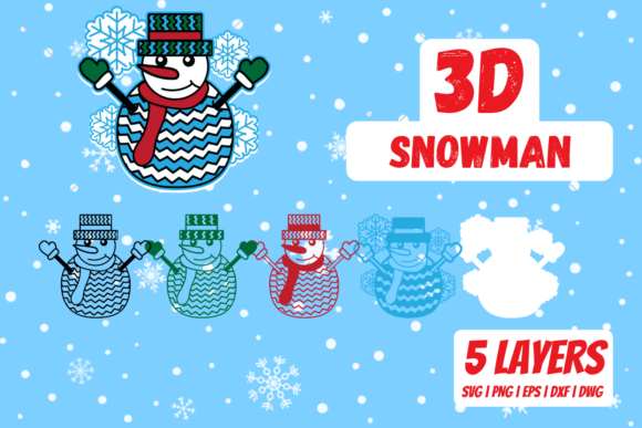 3D Snowman Graphic Crafts By SvgOcean