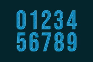 Print on Demand: 3D Retro Vintage Number Font and Typefac Graphic Illustrations By Netart