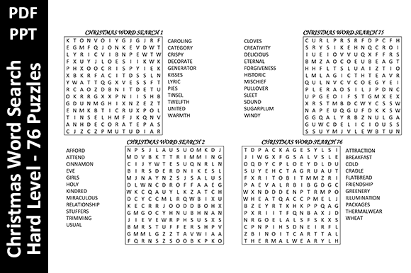 76 Christmas Word Search Puzzles - Hard Graphic KDP Interiors By Oxyp