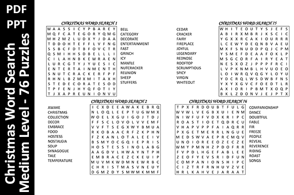 76 Christmas Word Search Puzzles  Medium Graphic KDP Interiors By Oxyp