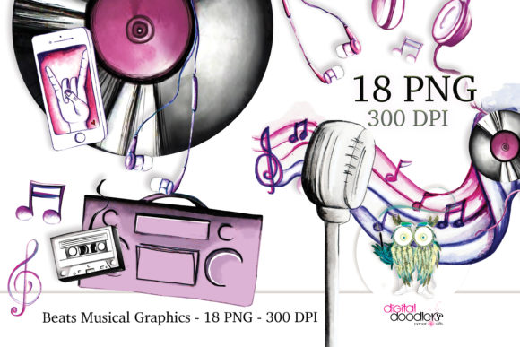 Print on Demand: Beats Musical Watercolor Graphics Graphic Illustrations By Digital Doodlers