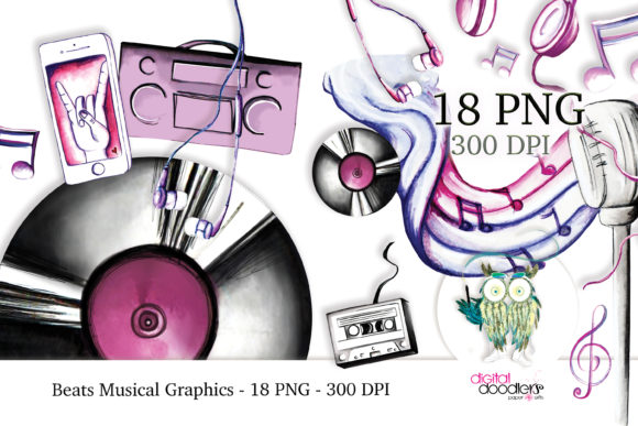 Beats Musical Watercolor Graphics Graphic Download