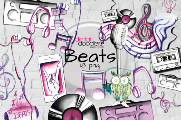 Beats Musical Watercolor Graphics Graphic Design