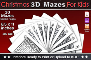 Print on Demand: Christmas 3D Mazes for Kids Graphic KDP Interiors By okdecoconcept