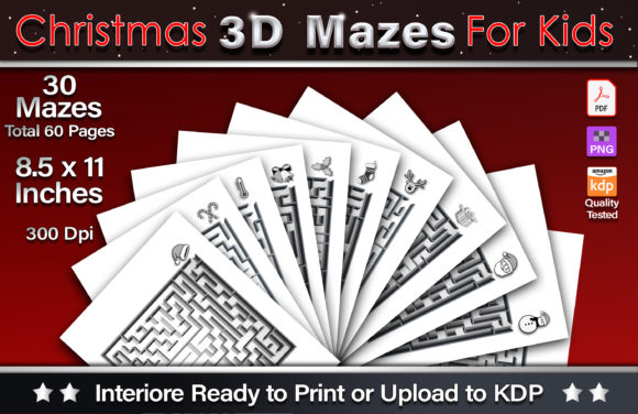Christmas 3D Mazes for Kids Graphic KDP Interiors By okdecoconcept