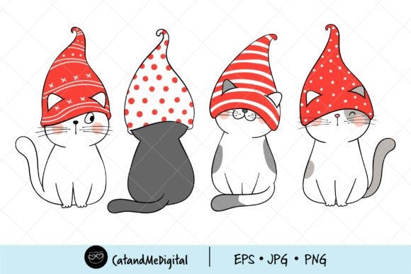 Christmas Cat with Gnome Hat Clipart. Graphic Illustrations By CatAndMe