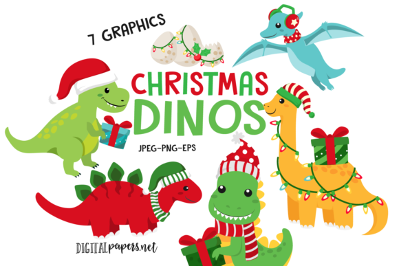 Print on Demand: Christmas Dinosaurs Graphic Illustrations By DigitalPapers