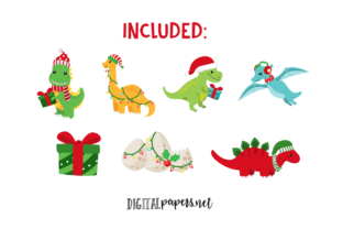 Print on Demand: Christmas Dinosaurs Graphic Illustrations By DigitalPapers 2