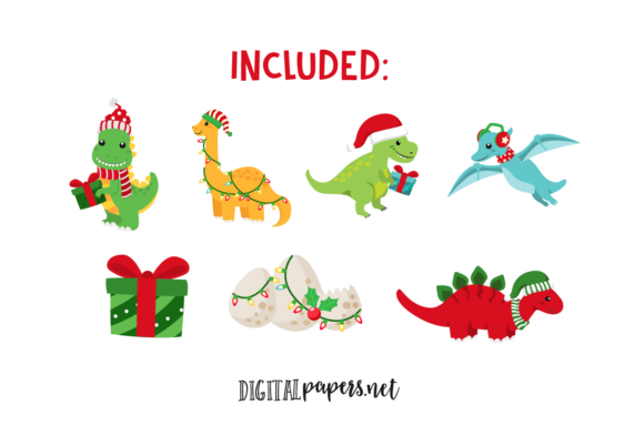 Christmas Dinosaurs Graphic Download