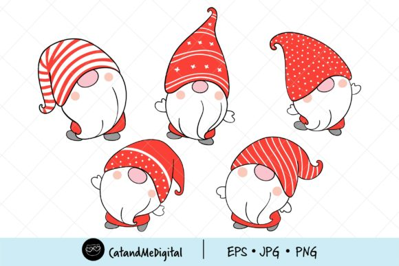 Christmas Gnomes Clipart. Graphic Illustrations By CatAndMe