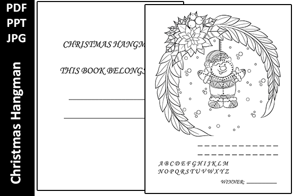 Christmas Hangman Activity Book for Kids Graphic KDP Interiors By Oxyp