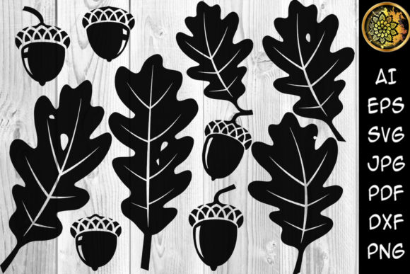 Print on Demand: Christmas Acorn and Oak Leaf Clipart Graphic Illustrations By V-Design Creator