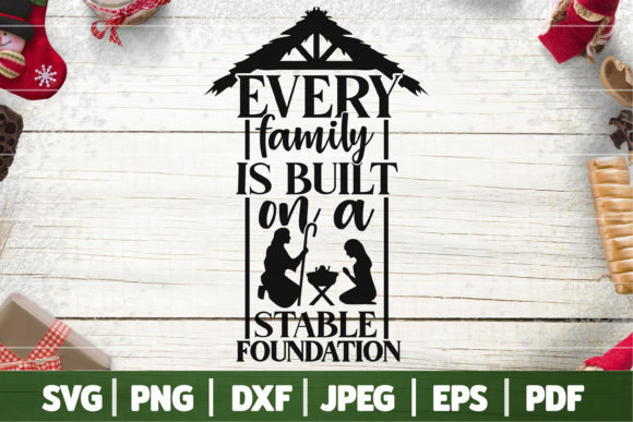 Christmas Nativity Family SVG Graphic Crafts By SeventhHeaven Studios