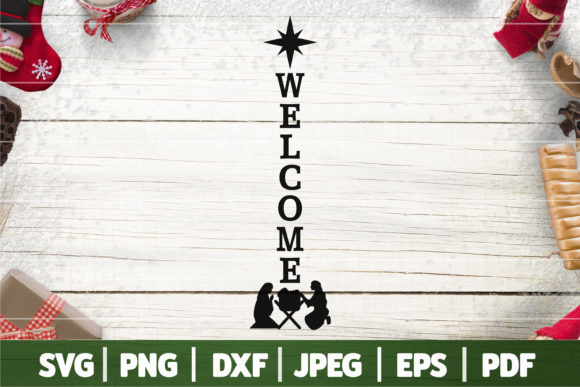 Christmas Nativity Porch Sign SVG Graphic Crafts By SeventhHeaven Studios