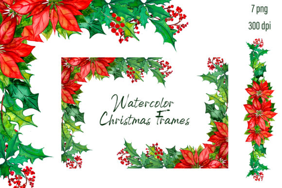 Print on Demand: Christmas Wreath Poinsettia Clipart Graphic Illustrations By ElenaZlataArt